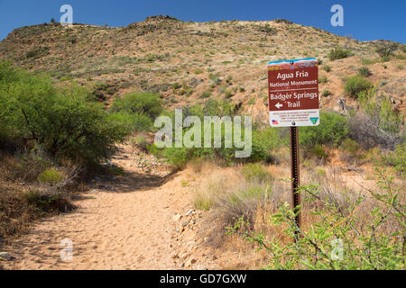 Badger Springs Trail sign, Agua Fria National Monument, Arizona - Stock Photo