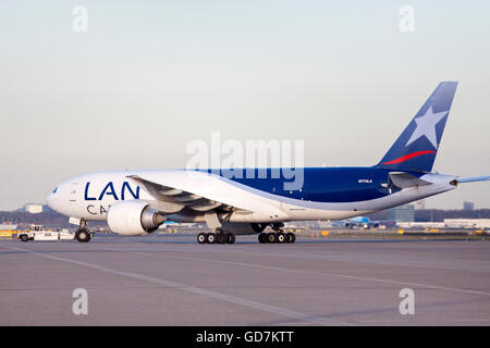 AMSTERDAM, THE NETHERLANDS - FEBRUARY 18, 2015 .Just arrivedBoeing 777 cargo plane from lan cargo on schiphol airport. - Stock Photo