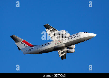 AMSTERDAM, THE NETHERLANDS - FEBRUARY 18, 2015 Close up photo of a four-engined BAe 146 aircraft CityJet with a - Stock Photo
