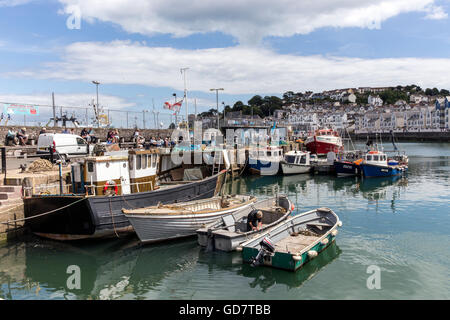 Brixham devon, uk, torbay, brixham, coastal, coast, town, shore, white, seaside, anchor, travel, ropes, attraction, - Stock Photo