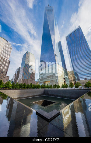 One World Trade Center is the main building of the rebuilt World Trade Center complex in Lower Manhattan, New York - Stock Photo
