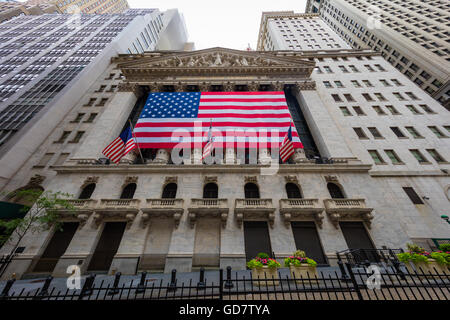 The New York Stock Exchange is an American stock exchange located at 11 Wall Street, Lower Manhattan, New York City - Stock Photo