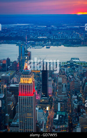 The Empire State Building is a 102-story landmark Art Deco skyscraper in New York City, United States - Stock Photo