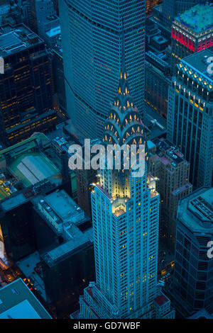 The Chrysler Building is an Art Deco-style skyscraper located on the East Side of Midtown Manhattan in New York - Stock Photo