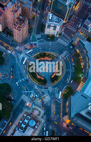 Columbus Circle, named for Christopher Columbus, is a traffic circle and heavily trafficked intersection in New - Stock Photo