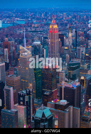 Manhattan is the most densely populated of the five boroughs of New York City - Stock Photo
