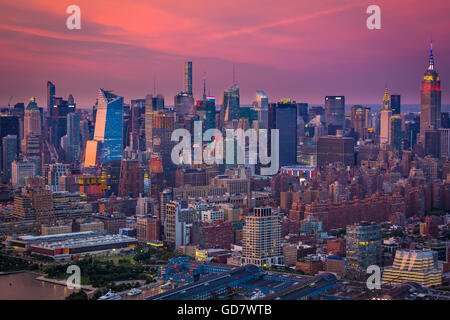 Aerial photograph (helicopter). Manhattan is the most densely populated of the five boroughs of New York City. - Stock Photo