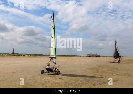 Blokarting on the wide beach of Schiermonnikoog, a West Frisian island in the Wadden Sea, Friesland, The Netherlands. - Stock Photo