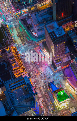 Aerial photograph (helicopter). Times Square is a major commercial intersection and neighborhood in Midtown Manhattan, - Stock Photo
