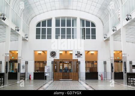 Main hall of Austrian Post Office Savings Bank in Vienna, Austria - Stock Photo