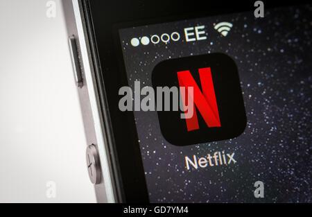 Netflix App on an iPhone smart phone - Stock Photo