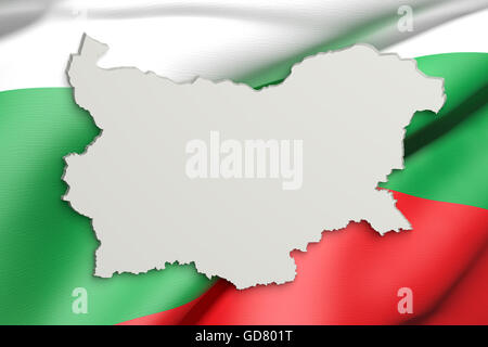 3d rendering of Bulgaria map and flag on background. - Stock Photo
