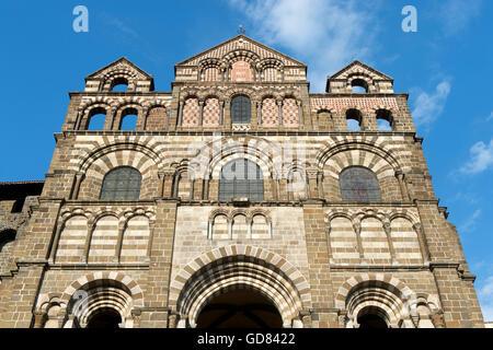 Europe, France, Haute Loire, Le Puy en Velay, Notre Dame cathedral - Stock Photo