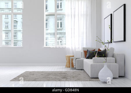 View of buildings from inside spacious white living room with throw rug, large planter and sofa underneath blank - Stock Photo