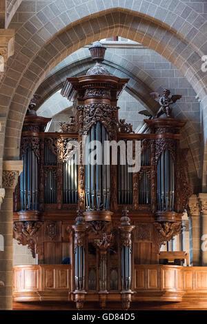Europe, France, Haute Loire region, Le Puy en Velay, Notre Dame Cathedral - Stock Photo