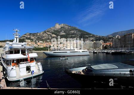 Super yachts in Monaco harbour ,Principality of Monaco, Europe. - Stock Photo