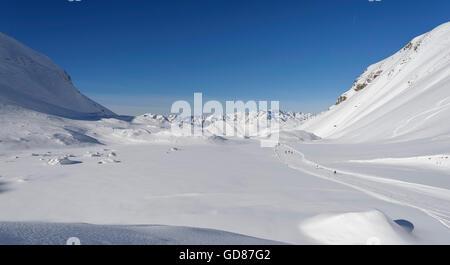 Ski Track 'La Fee', Deux Alpes ski resort, Alps, France - Stock Photo