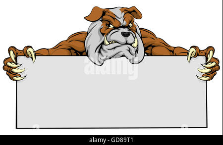 A mean looking bulldog dog mascot holding a sign - Stock Photo