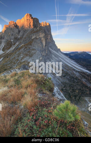 Morning lights on the rocky peaks Furcella De Furcia Odle Funes Valley South Tyrol Dolomites Trentino Alto Adige - Stock Photo