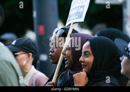 Cardiff, UK. 13th July, 2016. BLM Black Lives Matter Protest, Cardiff, UK. Credit:  Christopher Tomlinson/Alamy - Stock Photo