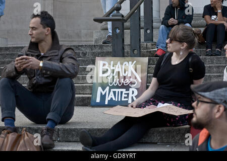 Cardiff, UK. 13th July, 2016. Cardiff vigil for #BlackLivesMatter outside of the National Museum with speeched by - Stock Photo