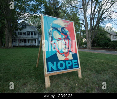 Lexington, Massachusetts, USA.  13th July, 2016.  A Lexington, MA, democrat made a 3 foot by 5 foot poster protesting - Stock Photo