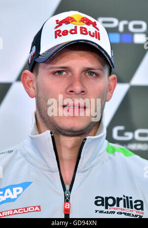 Hohenstein-Ernstthal, Germany. 14th July, 2016. German MotoGP driver Stefan Bradl from the Aprilia Racing Team Gresini - Stock Photo