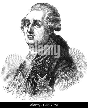 Louis XVI (1754 – 1793), born Louis-Auguste, also known as Louis Capet, was King of France from 1774 until his deposition - Stock Photo
