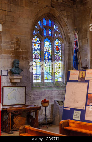St. Mary and The Holy Rood Church, Donington, Lincolnshire - window dedicated to Matthew Flinders - Stock Photo