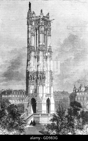 The remaining tower of the demolished Church of St Jacques Del La Boucherie in which the National Assembly held - Stock Photo