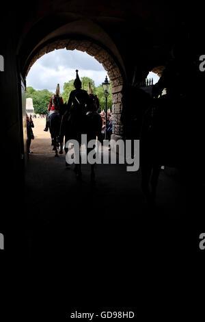 Mounted Calvary at the Horse Guards Parade London - Stock Photo