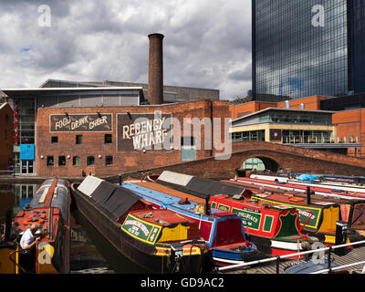 Narrowboats on the Birmingham Canal at Gas Street Basin Birmingham West Midlands England - Stock Photo