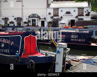 Canalside Pub on the Birmingham Canal at Gas Street Basin Birmingham West Midlands England - Stock Photo