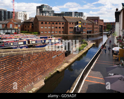 Narrowboats and Worcester and Birmingham Canal from Gas Street Basin Birmingham West Midlands England - Stock Photo