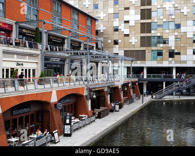 Restaurants by the Worcester and Birmingham Canal Birmingham West Midlands England - Stock Photo