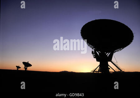 VLA Radiotelescope Dishes. The Very Large Array, one of the world's premier astronomical radio observatories. - Stock Photo