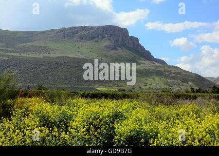 Mount Arbel, in the spring, Israel - Stock Photo