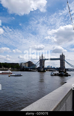 London, United Kingdom. A view of Tower Bridge a London landmark viewed from the South Bank with the London skyline - Stock Photo