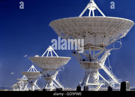 VLA Radiotelescope Dishes. The Very Large Array, one of the world's premier astronomical radio observatories - Stock Photo