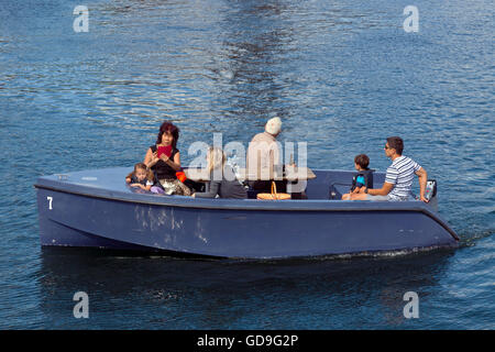 GoBoat picnic trip in the canals of Copenhagen Harbour - Stock Photo