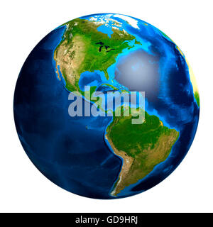 Earth globe showing South and North American continents, 3D illustration - Stock Photo