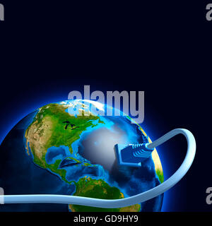 Network cable plugged into the Earth globe, conceptual 3D illustration - Stock Photo