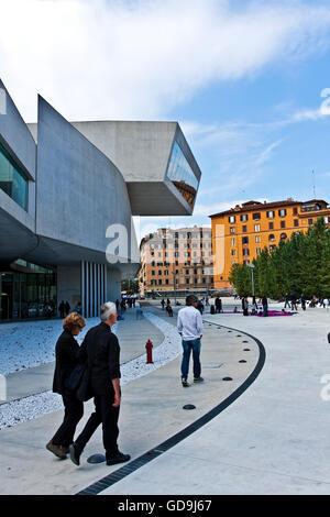 MAXXI National Museum of the 21st Century Arts, designed by Zaha Hadid, Rome, Lazio, Italy, Europe - Stock Photo