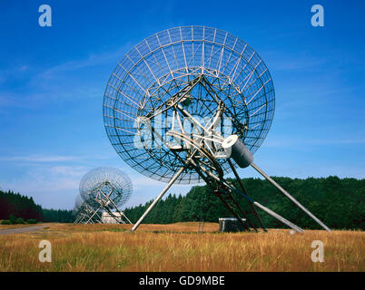 The Westerbork Synthesis Radio Telescope (WSRT) in the Netherlands is an aperture synthesis interferometer that - Stock Photo