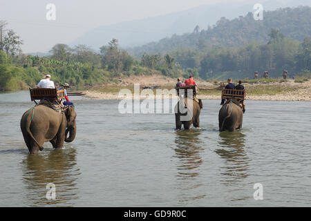 LUANG PRABANG, LAOS - FEBRUARY 12, 2016: Tourists riding elephants on February 12 in Laos, South East Asia - Stock Photo