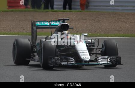 Lewis Hamilton leading the British Grand Prix at Silverstone - Stock Photo