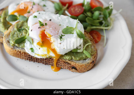 Poached eggs with avocado,tomato and sunflower sprout on sourdough toasts - Stock Photo