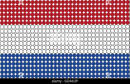 Abstract dotted flag of Netherlands made from small dots and circles. - Stock Photo