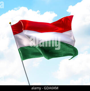 Flag of Hungary Raised Up in The Sky - Stock Photo