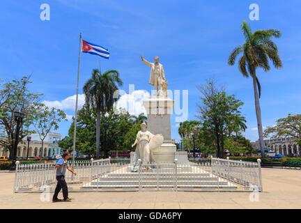 Jose Marti statue in Parque Marti Park, Plaza de Armas, Cienfuegos, Cuba - Stock Photo